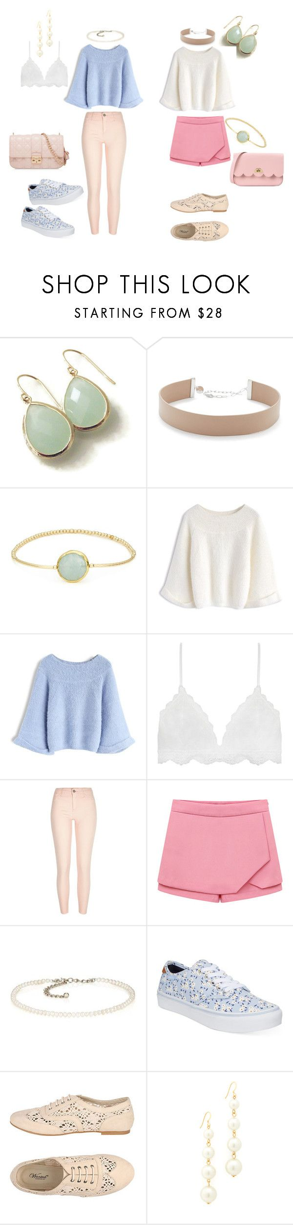 """""""Pretty Pastels 2018 5"""" by anna-mar ❤ liked on Polyvore featuring Jennifer Zeuner, Eva Hanusova, Chicwish, Serendipity, River Island, Kenneth Jay Lane, Vans, Oxford, The Cambridge Satchel Company and Christian Dior"""