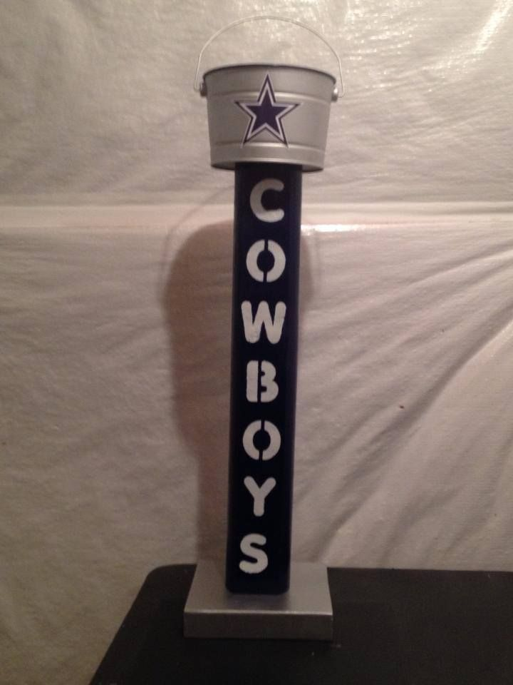 Dallas Cowboys outdoor standing ashtray available from http://www.etsy.com/shop/DesignedbyDJ