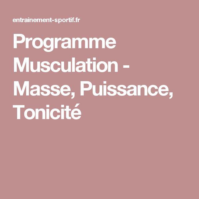 Programme Musculation - Masse, Puissance, Tonicité