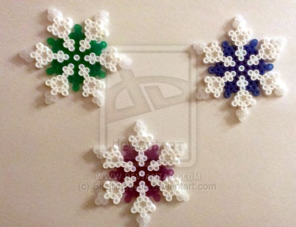 Glittered Snowflakes perler beads by SkellieBeads on deviantART