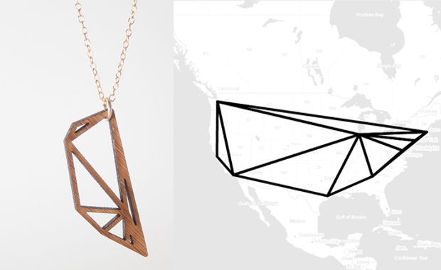 'MESHU JEWELRY COLLECTION' BY HWANG & BINX :   The design allows you to display your favorite destinations, this being for example specific places in your hometown or maybe a memorable trip abroad. Meshu Jewelry Collection visualizes your chosen destinations.