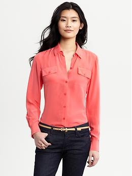 Great color.: Style, Crepes, Silk Crepes, Silk Blouses, Banana Republic, Bananas Republic, De Chine, Republic Silk, Chine Blouses