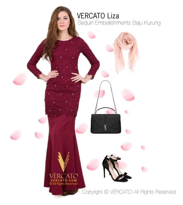 Baju Kurung Moden Terkini 2016 by vercato on Polyvore featuring Baju Kurung Lace With Sequin Embellishments - Vercato Liza Red. SHOP NOW>> http://vercato.com/baju-kurung-lace-sequin-embellishments-vercato-liza-red