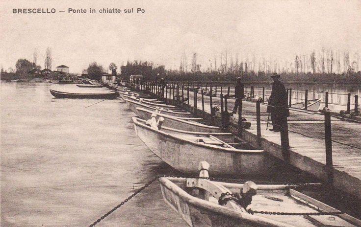 Brescello (RE) Anni '20 Ponte in chiatte sul Po