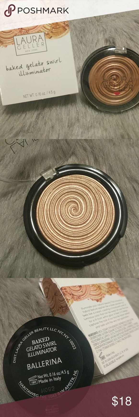 NIB Laura Geller Ballerina Highlighter Brand new in box. Stunning and bold highlighter. 100% authentic. This is the full size, retails for $26.  All purchases from me come with free additional samples.  Bundle with my other listings for discount and shipping deal. laura geller Makeup Luminizer