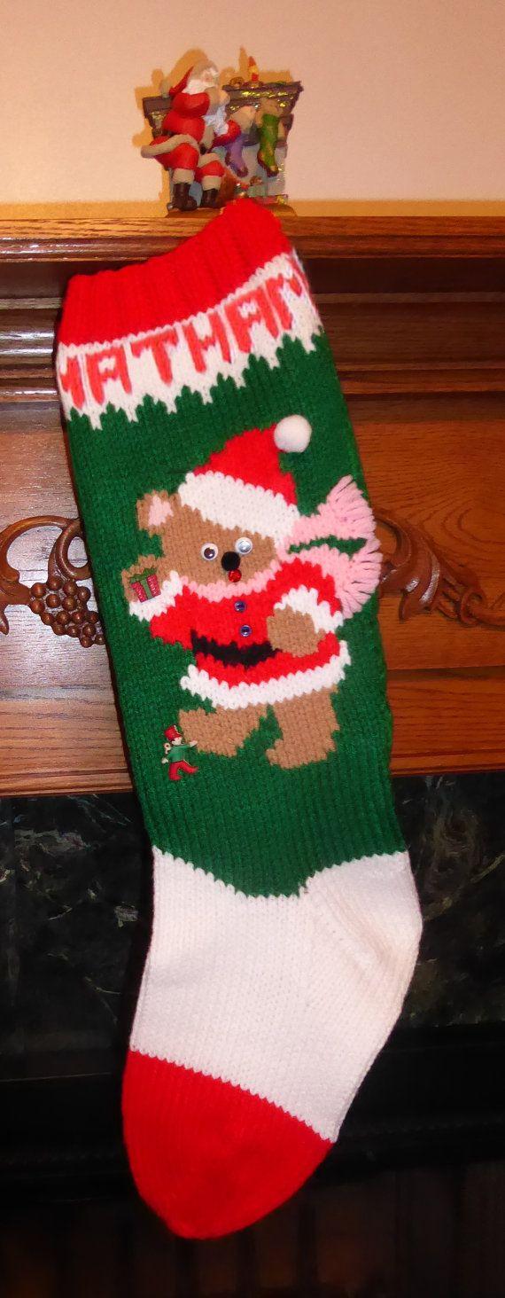 Christmas Stocking Knitting Pattern Easy : Knitted christmas stocking pattern quot a bear