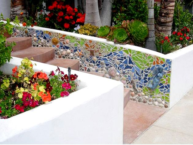 Garden Wall Ideas the kitchen garden is accented by a new stone and brick wall and a Find This Pin And More On Mosaic Garden Wall Ideas