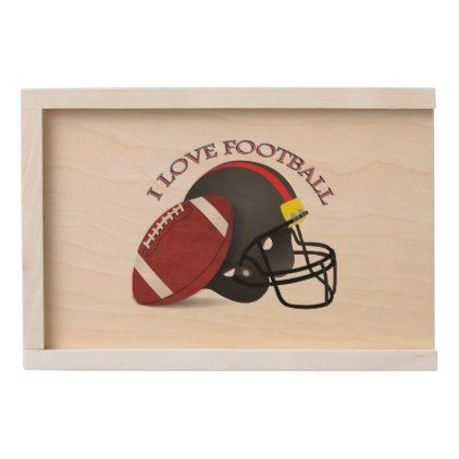 I love modern elegant trendy football wooden keepsake box - create your own gifts personalize cyo custom
