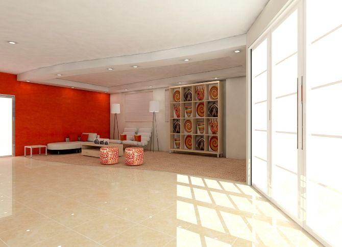 Feature orange wall - design tank - Cherry Cube Interior Consulting