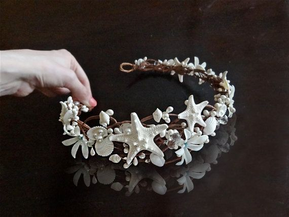 seashell hairpiece, starfish hair accessories, bridal hairpiece with crystals, beach wedding hair accessory, flower crown, aqua blue, white