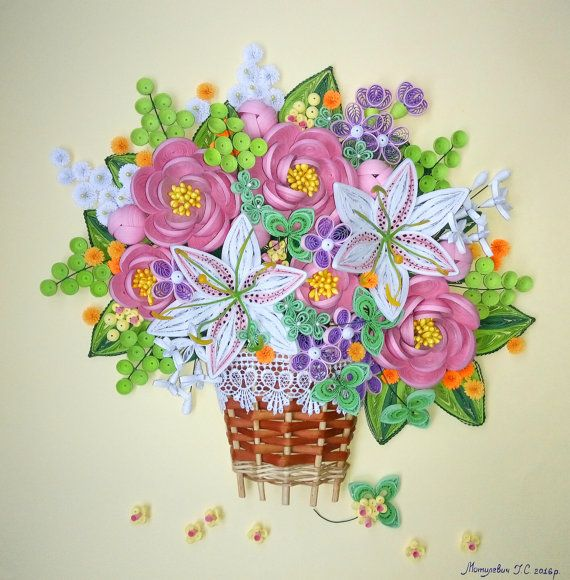 Free Shipping!  Quilling 3D wall art picture Bouquet of summer  - 100% handmade.  - Size 44.5 cm (17.51) x 45 cm (17.71) - Without frame - The picture made of paper. - The picture is bright and beautiful. The work was done carefully. - Paper picture will be a nice decoration for any