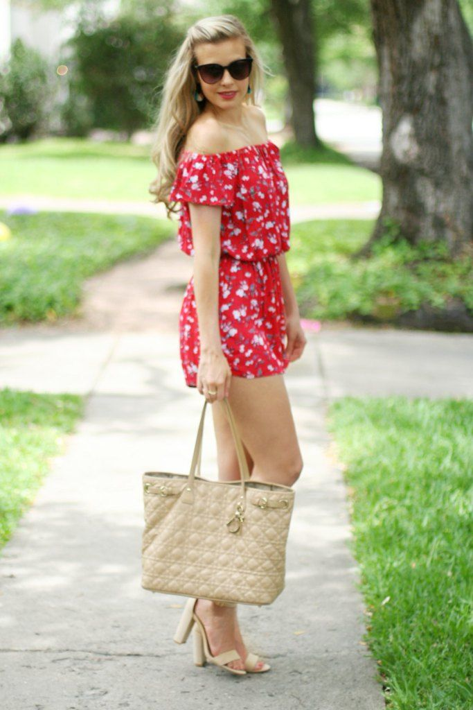 Romper under $20 red romper | off the shoulder romper | spring romper | summer romper | spring style | summer style | how to wear a romper | tassel earrings | hoop earrings kinseywalsh.com