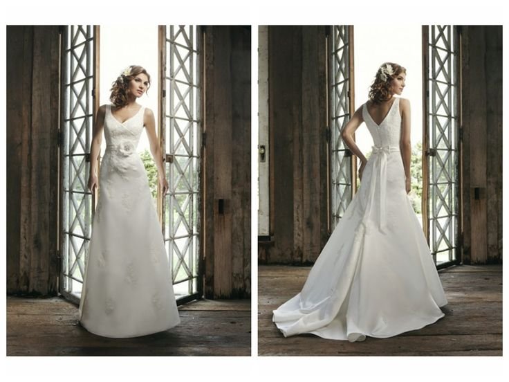Elegant Applique Accents and Beaded Bow back Flower Waistband A-Line Lucky Wedding Dress