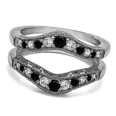 1.75ct 925 Sterling Silver Solitaire Enhancer Round Ring Guard Wrap Wedding Band