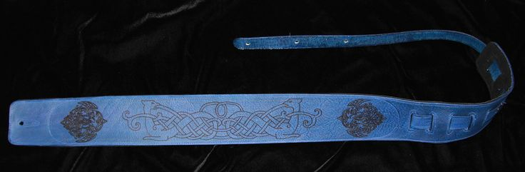 Nordic Crows & Dragons Guitar Strap.  Blue