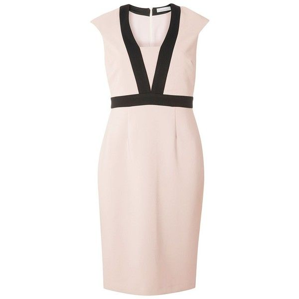 Dorothy Perkins Petite Tipped Dress ($52) ❤ liked on Polyvore featuring dresses, petite, pink, women, pink bodycon dress, petite bodycon dresses, pencil dress, pink pencil dress and bodycon dress