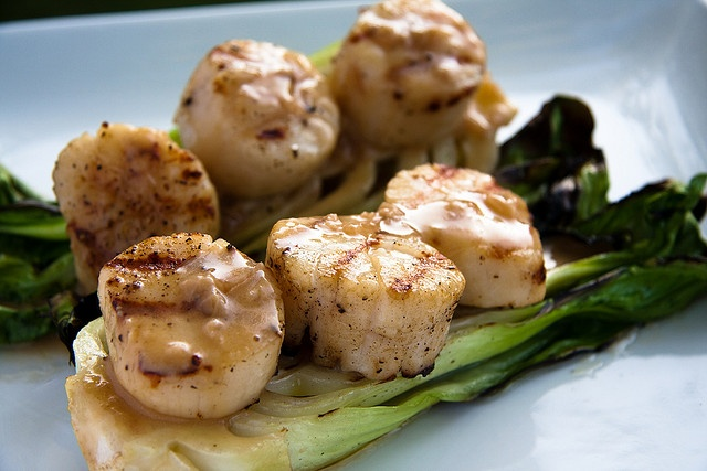 Grilled Scallops.... with Baby Bok Choy & Soy-Ginger Beurre Blanc / Another Pint Please