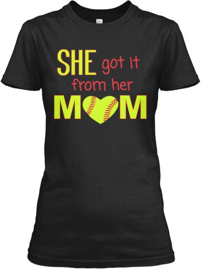 She got it from her Mom softball custom t shirt, or V neck. green/gold and red design FREE SHIPPING