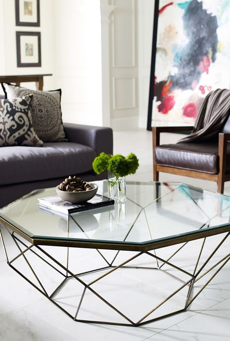 Living Room Geometric Coffee Table-Antique Brass IMAR-54-BRS ...