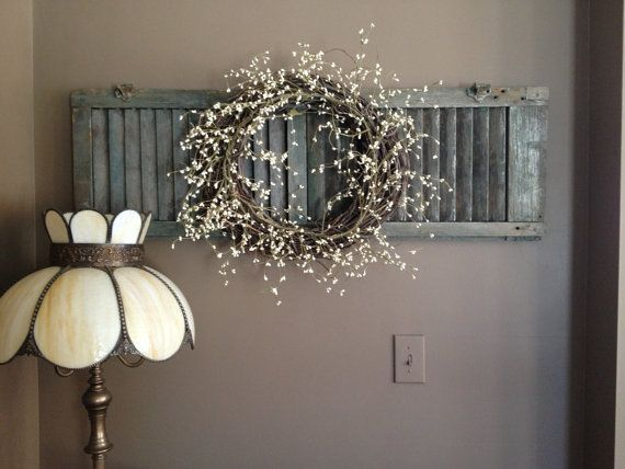 cool Chalk Painted Shutter with Dried Flower Wreath...