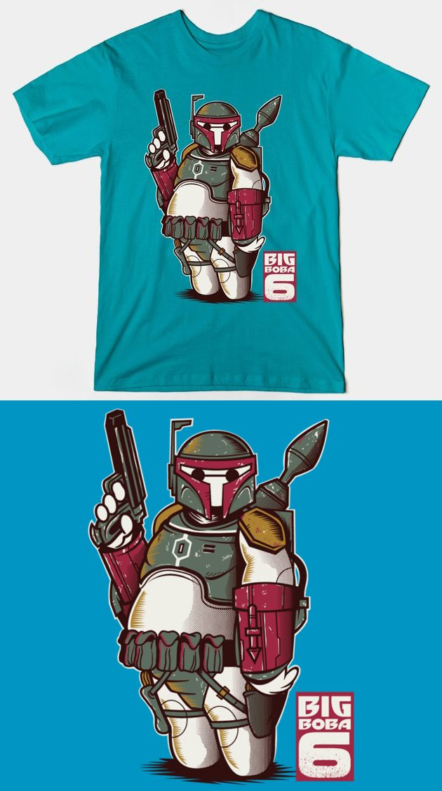 Baymax Boba Fett T Shirt | Star Wars and Big Hero 6 crossover design. Fantastic mashup! | Visit http://shirtminion.com/2015/06/baymax-boba-fett-t-shirt/