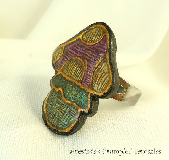 Purple  yellow green gold toadstool ring by CrumpledFantazies