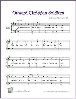 Onward Christian Soldiers | Free Sheet Music for Piano - http://makingmusicfun.net/htm/f_printit_free_printable_sheet_music/onward-christian-soldiers-piano.htm