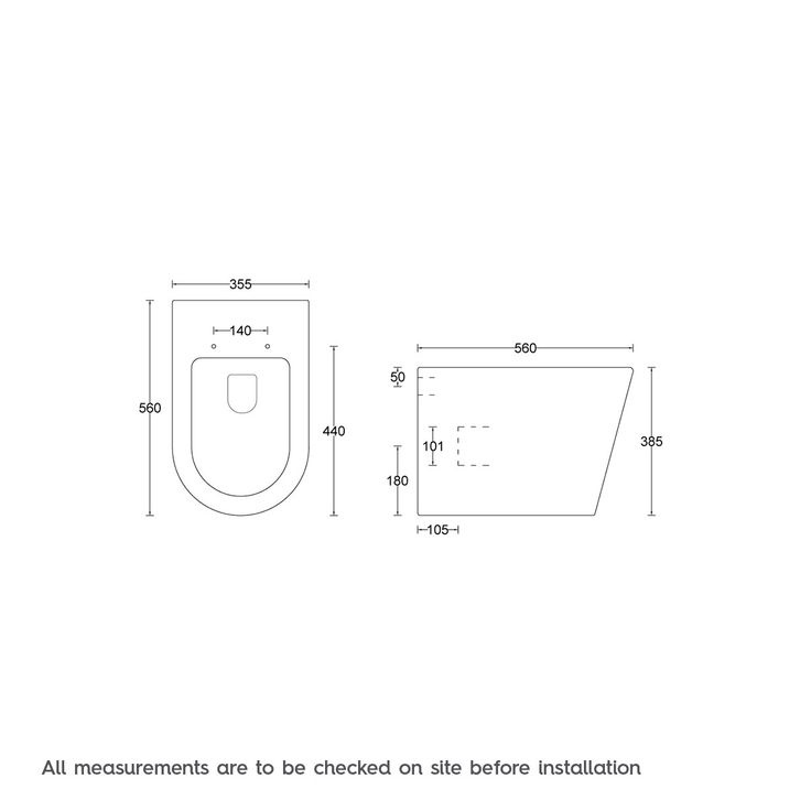 Dimensions for Mode Tate back to wall toilet with soft close seat