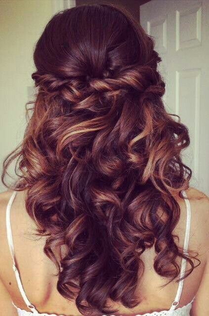 Half up half down wedding hair style.