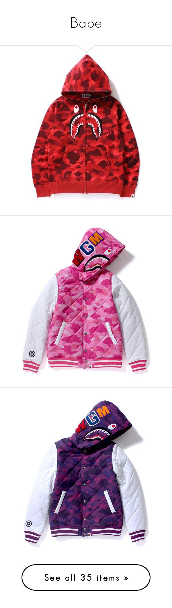 """Bape"" by sapringle ❤ liked on Polyvore featuring tops, hoodies, camouflage hoodies, camo hoodie, camouflage hoodie, red camo hoodie, full zip hoodies, hooded sweatshirt, pink camouflage hoodies and pink camo hoodie"