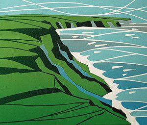 Reduction cut coastal landscape original print by Lynne Roebuck