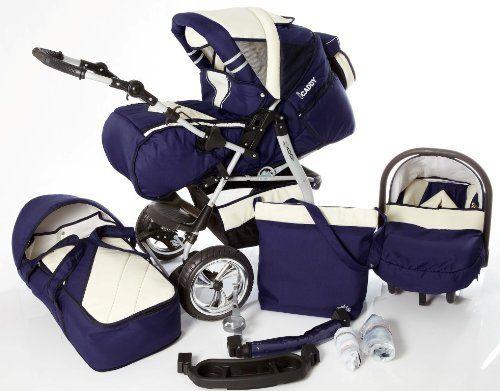 #bebes Lux4Kids® iCaddy 4 en 1 cochecito combi con asiento de coche y saco de silla (cubierta de la lluvia, mosquitero, bandeja de bebidas, el cambio de plataforma, 49 colores) 16 Navy / Crema