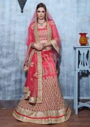 Party Wear Pink Silk Embroidered Work Lehenga Choli