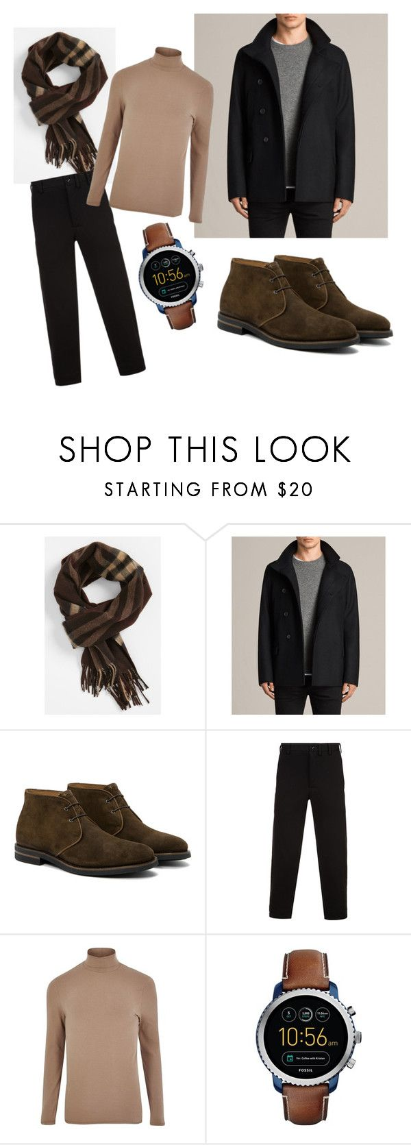 """""""Untitled #81"""" by guseva2504 ❤ liked on Polyvore featuring Burberry, AllSaints, Aquatalia by Marvin K., Yohji Yamamoto, River Island, FOSSIL, men's fashion and menswear"""