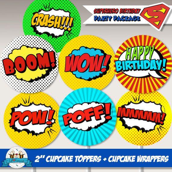 Pop Art SuperHero Birthday Party 2 Cupcake by LilFacesPrintables, $4.95