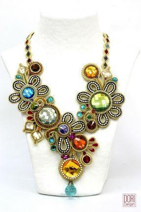 Sparkling Flowers haute couture statement necklace by Dori Csenger
