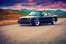 BMW E30 3 SERIES TUNING RETRO VINTAGE OLD CAR AUTO POSTER 36x24 INCHES