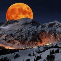 Harvest Moon rising above Sierra Nevada Sequoia National Park California
