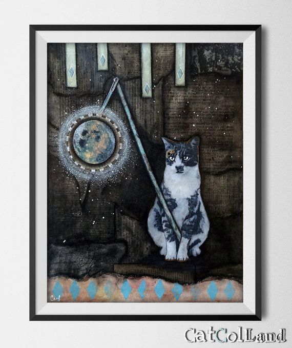 Midnight Cat Mixed Media Collage 16x 20 original art by CatColLand