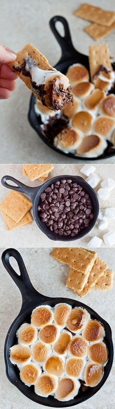 Indoor S'mores | Preheat the oven to 450. In a cast iron skillet, add the 1 cup chocolate chips. Snip 8 large marshmallows in half and top the chocolate chips with them. (You could also use a scoop of mini marshmallows alternatively.) Once the oven is up to temperature, add the skillet to the oven. Bake for 7-9 minutes, or until the marshmallows turn golden brown. Serve with gluten free graham crackers for scooping.