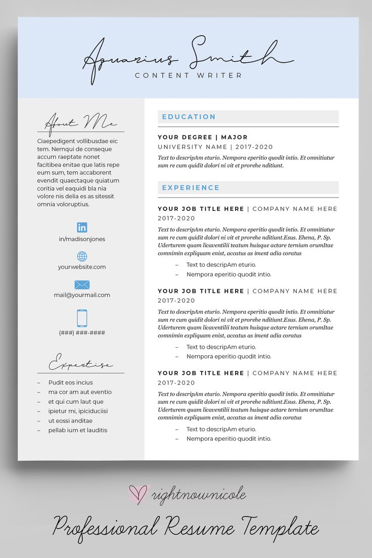 Aqua Blue Feminine Resume Template Simple Resume Design