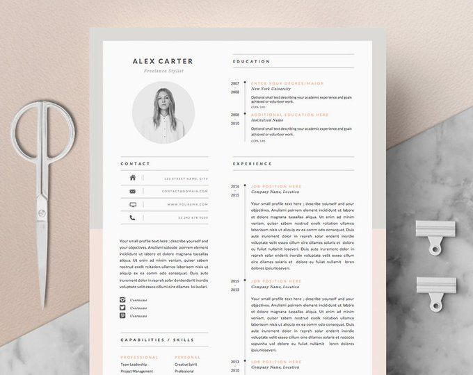 Ruby Resume Cv Template Word Photoshop Indesign