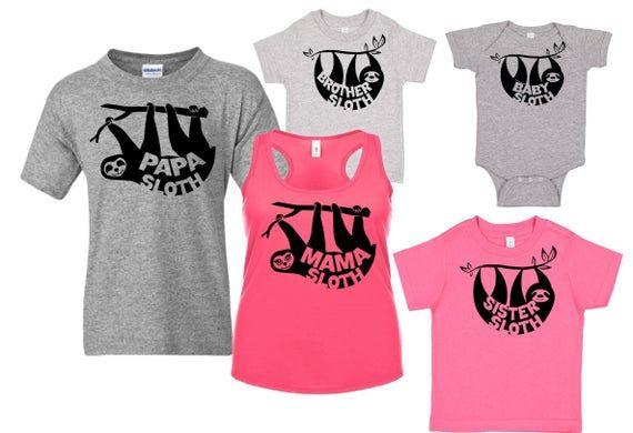 Sloth T Shirt, Mama Sloth , Papa Sloth , Sister Sloth
