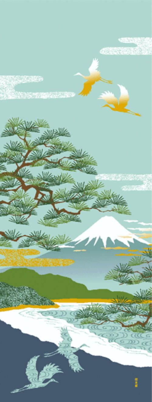 Japanese Tenugui cotton towel fabric. Scenery pattern / Mt.Fuji + Pine Tree + Crane design. High quality tenugui fabrics made of soft 100% cotton cloth and hand dyed by Japanese master dyers. [ H o w T o U s e ] * towel * washcloth * dishcloth * headband / bandanna * scarf * wall
