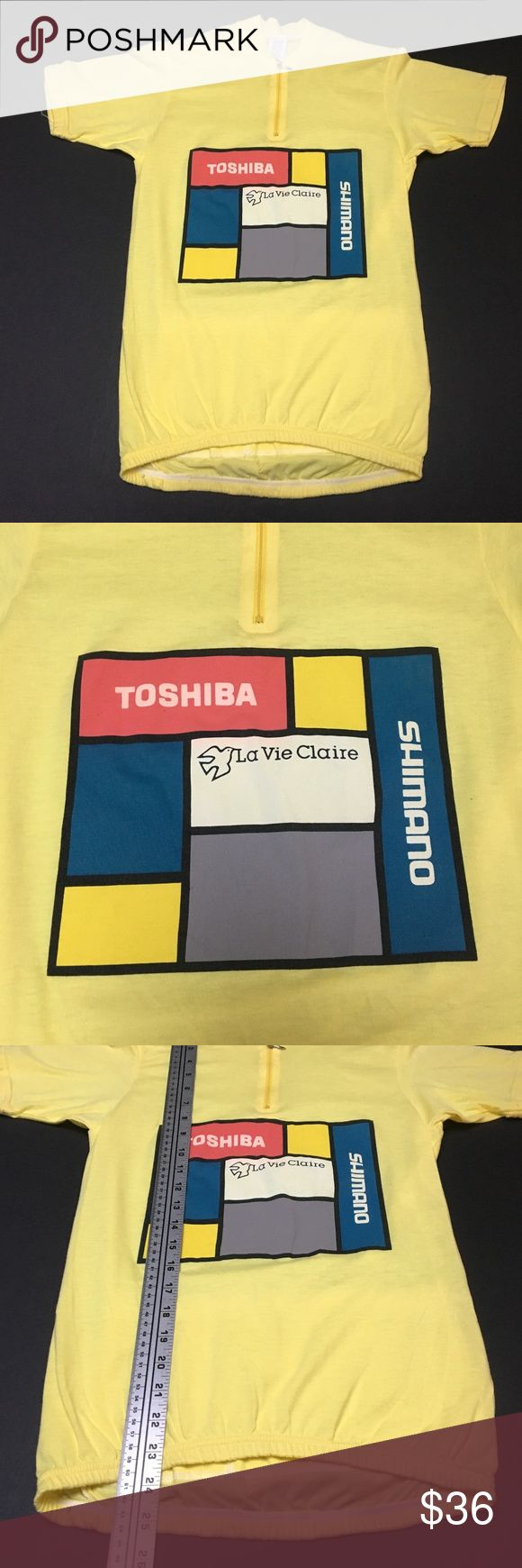 Vintage 80s Toshiba Yellows Shimano Bike Jersey Perfect complement to your Miyata, Centurion or Univega Excellent condition - looks deadstock Vintage fit - check measurements  Please check measurements for fit reference  Smoke and pet-free storage Happy to answer any questions Thanks for looking Pace Other