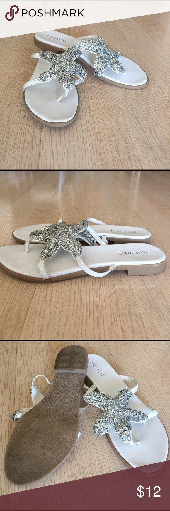 Nine West starfish sandal Nine West starfish white sandal w silver starfish. Gently worn Nine West Shoes Sandals