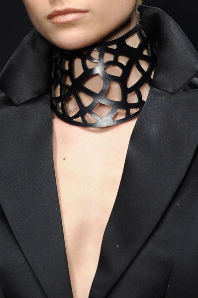Laser cut leather collar necklace - statement jewellery; bold runway jewelry // Krizia