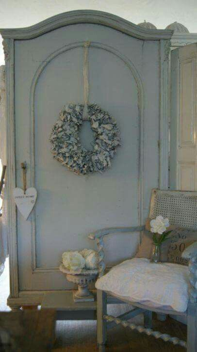 French grey / blue shabby chic armoire and Berger chair. For more images like this follow my board @anthileoni