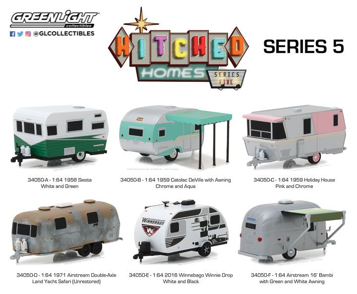 34050 1 64 Hitched Homes Series 5 Mini Trucks Diecast Cars Toy Trucks