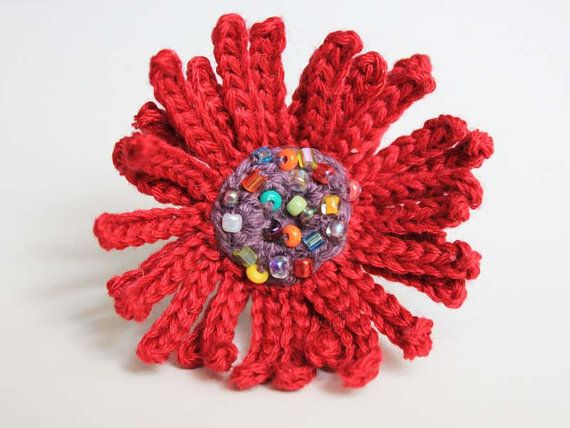 Crocheted Beaded Red and Purple Flower Ring by CraftAroundTheClock